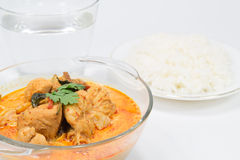 Curry chicken with bamboo shoots, thai food. Cuisine of Thailand. Served with steamed rice Royalty Free Stock Photos