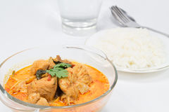 Curry chicken with bamboo shoots, thai food. Cuisine of Thailand. Served with steamed rice Royalty Free Stock Image