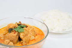 Curry chicken with bamboo shoots, thai food. Cuisine of Thailand. Served with steamed rice Stock Photo