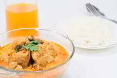 Curry chicken with bamboo shoots, thai food. Cuisine of Thailand. Served with steamed rice Royalty Free Stock Photography