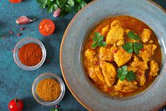 Curry with chicken and onions. Indian food. Asian cuisine. Royalty Free Stock Photo
