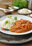 Curry. Chicken curry on a plate with rice an chilli pepper royalty free stock image