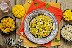 Curry chicken rice with mango Stock Image
