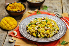 Curry chicken rice with mango Royalty Free Stock Photo