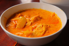 Curry chicken with rice served in bowl Royalty Free Stock Photo
