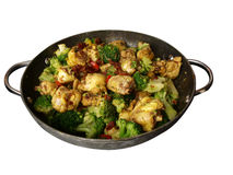 Curry chicken stirfry isolated Royalty Free Stock Photos