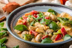 Curry chicken vegetable fresh food Stock Photos