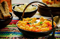 Curry chickpea with cauliflower and vegetables Royalty Free Stock Photos