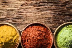 Curry, chilli and ground green tea Stock Photography