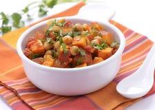 Curry de la patata dulce del garbanzo Foto de archivo