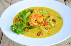 Curry del almuerzo-camarón del negocio en salsa amarilla Imagenes de archivo