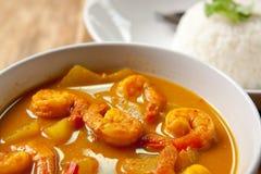 Curry del camarón con arroz. Imagen de archivo