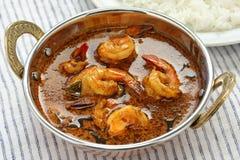 Curry del gamberetto, alimento indiano Fotografia Stock