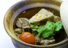Curry del Jackfruit del bebé con el guisado del cerdo Foto de archivo