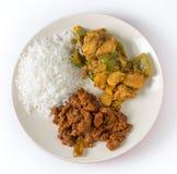 Curry del manzo con riso e la patata Fotografie Stock Libere da Diritti