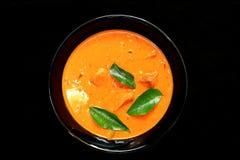 Curry del pesce del Kerala con le foglie del curry Fotografia Stock