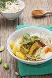 Curry del pollo con fideos tailandeses del arroz Imágenes de archivo libres de regalías