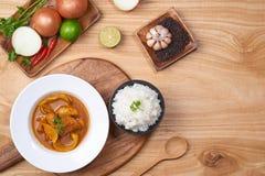 Curry del pollo con la especia en fondo de madera fotos de archivo libres de regalías