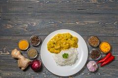 Curry del pollo con riso su un fondo scuro La vista dalla parte superiore Copia-spazio Immagine Stock