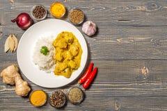 Curry del pollo con riso su un fondo scuro La vista dalla parte superiore Copia-spazio Fotografia Stock