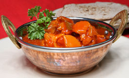 Curry del pollo y pan del chapati Foto de archivo