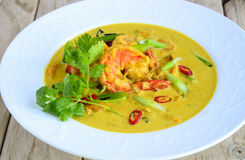 Curry del pranzo-gamberetto di affari in sugo giallo Immagini Stock