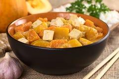 Curry del tofu, della zucca e della patata dolce Fotografia Stock