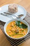 Curry della carne di maiale con gli spinaci dell'acqua Immagine Stock