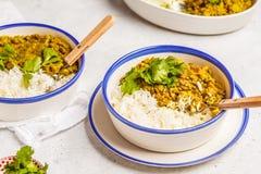 Curry della lenticchia con riso, cucina indiana, tarka dal, backgro bianco Immagine Stock Libera da Diritti