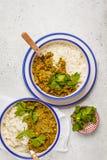 Curry della lenticchia con riso, cucina indiana, tarka dal, backgro bianco Fotografie Stock Libere da Diritti