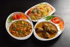 Curry della melanzana & della verdura con riso Fotografie Stock