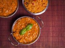 Curry di Tikka Masala del pollo sul fondo del rattan Fotografia Stock