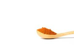 Curry'ego proszek w drewnianej łyżce Zdjęcia Stock