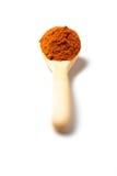 Curry'ego proszek w drewnianej łyżce Zdjęcie Royalty Free
