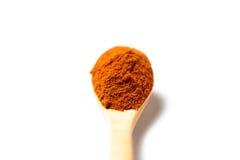 Curry'ego proszek w drewnianej łyżce Obrazy Stock