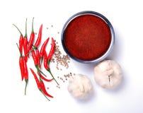 Curry'ego proszek z chili, czosnek, pieprzowi składniki Zdjęcie Stock