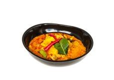 Curry'ego sosnowy jabłko z wieprzowiną, Odizolowywającą zdjęcia stock