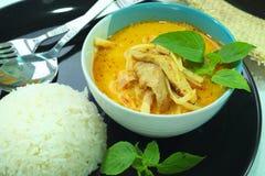 Curry'ego wieprzowina piec asparagus Zdjęcie Royalty Free