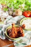 Curry för fega trumpinnar med ris Royaltyfria Foton