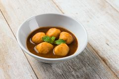 Curry fish balls. In Asian restaurant royalty free stock photography