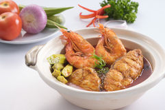 Curry fish & prawn Royalty Free Stock Photos