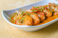 Curry fried shrimp with coconut milk Royalty Free Stock Image