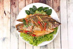 Curry-fried Tilapia fish with spicy topping. Royalty Free Stock Photos