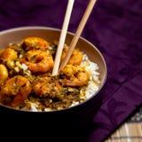 Curry Garnelen mit Reis - schwarzer Hintergrund 09 stockbild