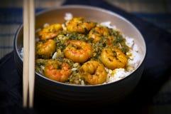 Curry-Garnelen mit Reis - schwarzer Hintergrund stockbilder