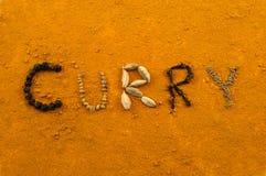 Curry geschrieben mit Gewürzen Lizenzfreie Stockfotografie
