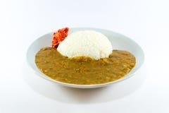 Curry giapponese del riso con il 'chi' di Kim su fondo bianco Fotografie Stock Libere da Diritti