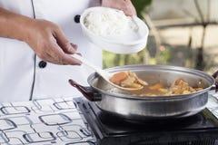 Curry giapponese della carne di maiale della pala del cuoco unico con il riso del vapore Fotografia Stock Libera da Diritti