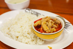 Curry-Huhn mit Reis Stockfotos