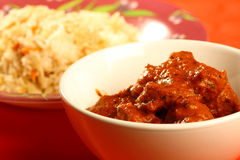 Curry indiano del montone con riso Fotografie Stock